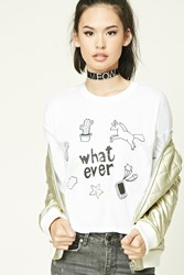 Forever 21 Whatever Graphic Tee White Black