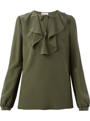 Red Valentino Ruffle Detail Blouse Green