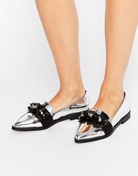 Asos Mercy Flower Embellished Loafers Silver