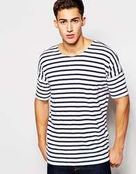Minimum Scoop Neck Stripe T Shirt White