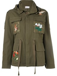 Red Valentino Embroidered Military Jacket Green