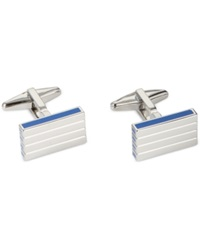 Kenneth Cole Polished Rhodium With Horizontal Line Detail Cufflinks Silver