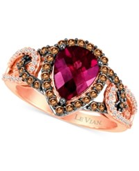 Le Vian Chocolatier Raspberry Rhodolite Garnet 1 1 2 Ct. T.W. And Diamond 1 2 Ct. T.W. Ring In 14K Rose Gold