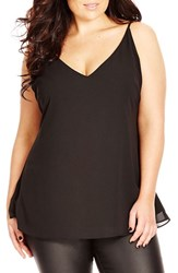 Plus Size Women's City Chic Double Layer V Neck Camisole Top Black