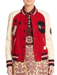 Coach Ribbed Wool Blend Jacket Red