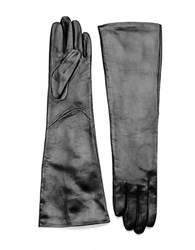 Lord And Taylor Leather Elbow Length Gloves Black