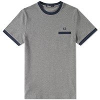 Fred Perry Pique Ringer Tee Grey