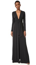 Halston V Neck Gown Black