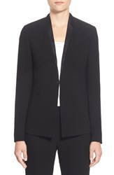 Elie Tahari 'Darcy' Distressed Leather Trim Jacket Black