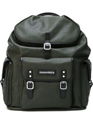 2 Pouch Pocket Backpack Green