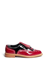 Robert Clergerie X Disney 'Royal' Card Suit Lasercut Patent Leather Brogues Red Multi Colour