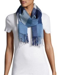 Lord And Taylor Plaid Cashmere Scarf Blue