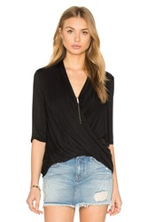 Krisa Surplice Half Sleeve Top Black