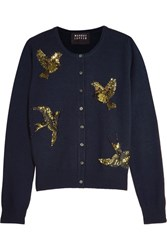 Markus Lupfer April Sequin Embellished Merino Wool Cardigan Midnight Blue