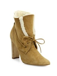 Manolo Blahnik Ostrava Suede And Shearling Booties Tan