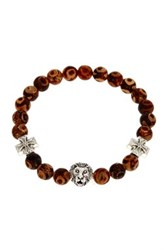 Jean Claude Lion Head And Cross Charm Dzi Bead Stretch Bracelet Brown