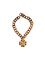 Chanel Vintage Clover Motif Pendant Necklace Brown