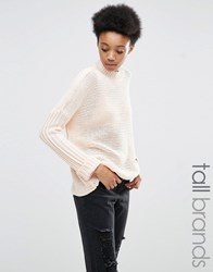 Noisy May Tall Cable Knit Jumper Blush Pink