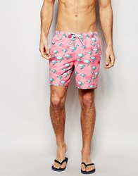 Asos Mid Length Swim Shorts With Turtle Print Pink