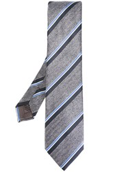 Brioni Striped Tie Grey