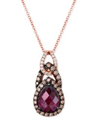 Le Vian Chocolatier Rhodolite Garnet 1 3 4 Ct. T.W. And Diamond 1 3 Ct. T.W. Teardrop Pendant Necklace In 14K Rose Gold Red