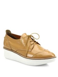 Derek Lam Grady Patent Leather Lace Up Platform Oxfords Tan Black