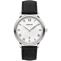 Montblanc 112633 Men's Tradition Date Stainless Steel Alligator Leather Strap Watch Black White