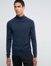 Selected Homme Silk Mix Roll Neck Jumper Navy