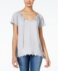 Self Esteem Juniors' Flutter Sleeve Peasant Top Cloud Dancer