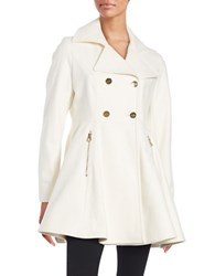 Laundry By Shelli Segal Wool Blend Double Breasted Fit And Flare Coat Ivory