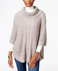 Karen Scott Cable Knit Cowl Neck Poncho Only At Macy's Gull Marl