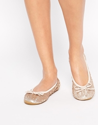 Dune Manhattan Gold Sequin Ballerina Shoes Champagne