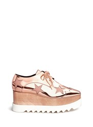 Stella Mccartney 'Elyse' Mirror Star Applique Wood Platform Derbies Pink Metallic