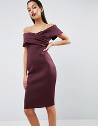Asos Premium Scuba Off The Shoulder Deep Fold Bardot Pencil Dress Purple