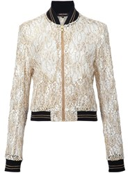 Sophie Theallet Guipure Lace Bomber Jacket Yellow And Orange