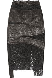 Ronald Van Der Kemp Croc Effect Leather And Corded Lace Skirt Black