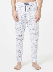 Topman Off White And Purple Paint Splat Joggers Cream