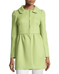 Red Valentino Pleated Wool Blend Coat Mint Women's
