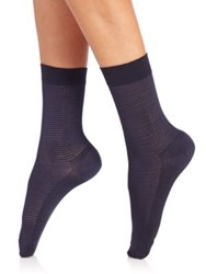 Wolford Striped Socks Cocamoca Navy Black Anthracite