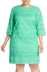Plus Size Women's London Times Circle And Dot Eyelet Cotton Shift Dress
