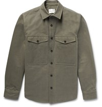 Steven Alan Washed Cotton Gabardine Shirt Jacket Green