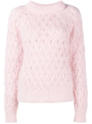 Balmain Cable Knit Jumper Pink And Purple