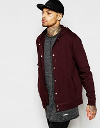 Asos Hoodie With Snaps In Burgundy Red
