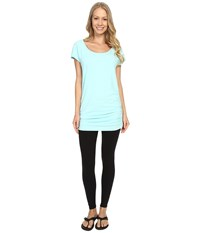 Lucy Yoga Girl Tunic Top Mist Green Heather Women's Workout Blue