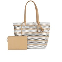 Loeffler Randall Women's Beach Tote Bag White Silver Natural