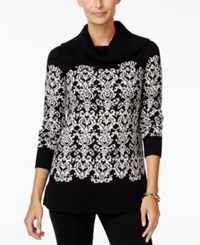 Charter Club Petite Cowl Neck Damask Sweater Only At Macy's Vintage Cream Combo
