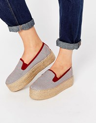 Pull And Bear Pullandbear Striped Slip Ons With Jute Sole Burgundy Red