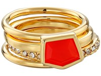 Vince Camuto Mixed Stone Stack Ring Set Gold Neon Coral Crystal Ring