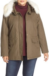 T Tahari Plus Size Women's 'Jackie' Anorak With Removable Faux Fur Trim Olive