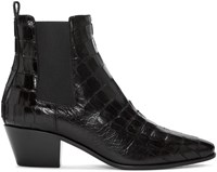 Saint Laurent Black Croc Embossed Rock Boots